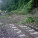 A mudslide blocks train tracks at Scarborough. (Courtesy MTA)