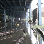 Tracks at the Lenox Terminal Yard underwater. (Courtesy MTA / Leonard Wiggins)
