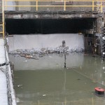 Water pushes against a tunnel flood wall. (Courtesy MTA / Leonard Wiggins)`