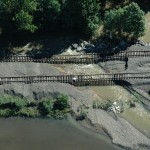 Floods wash out the ground beneath the tracks of the Port Jervis Line. (Courtesy MTA)
