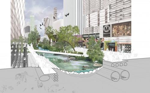 Rios Clementi Hale's riparian plans for Wilshire Boulevard.