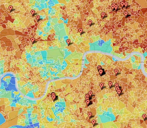 Map of poverty and riot hot spots in London. (Via the Guardian)