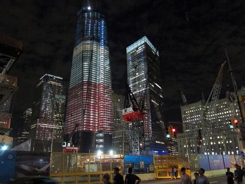 One World Trade Center glowing red, white, and blue. (Branden Klayko)