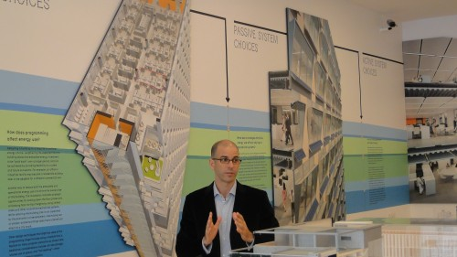 Anthony Filedman of Perkins + Will discusses his firm's energy-conscious building design. Courtesy of Center for Architecture