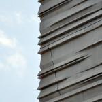 Striated precast panels clad the facade (Bob Borson)