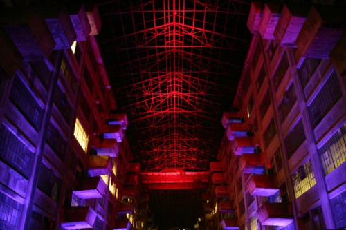 The artfully-lighted interior of the Brooklyn Army Terminal. (Tom Stoelker)
