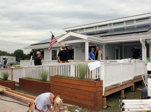Purdue students put the finishing touches on INhome. (Carol Anna / U.S. Department of Energy)