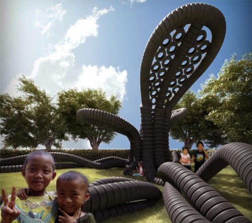 Proposal for a playground made of tires called RubberTree. (Courtesy AnneMarie van Splunter)