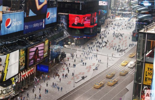 Redesigned Times Square. (Snøhetta, Courtesy NYC DOT)