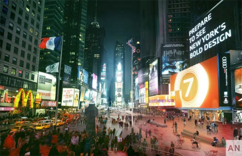 Redesigned Times Square. (Mir & Snøhetta, Courtesy NYC DOT)