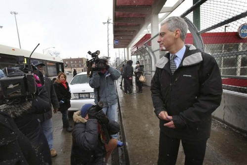 Emanuel at a CTA station (Courtesy National Journal)