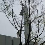 A crane lifts precast panels into place (Studio SUMO)