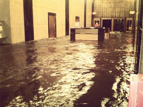 Flooded lobby of 140 West Street in Lower Manhattan. (Courtesy Governor Cuomo)