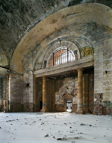 Waiting room with snowdrift, Michigan Central Station, 2008. (Andrew Moore)
