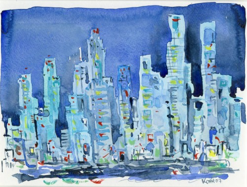 A watercolor by Gene Kohn included in a Hong Kong exhibition.