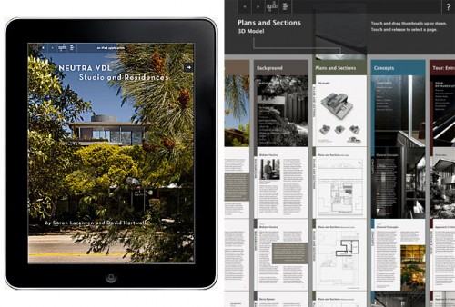 Two screen views of the Neutra VDL iPad app.