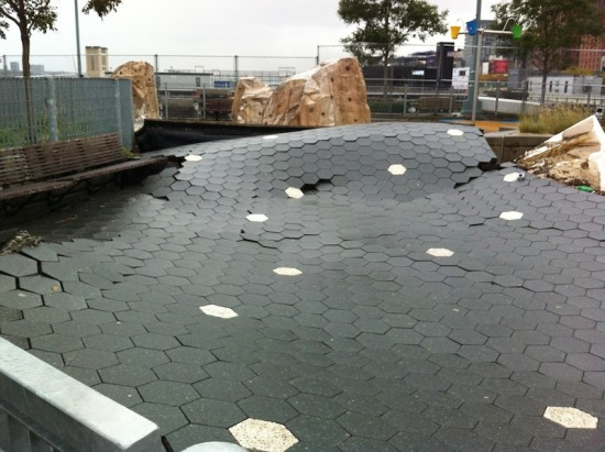 Damage to Pier 25 at Hudson River Park. (Courtesy Tribeca Citizen)