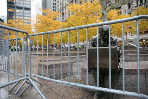 An empty Zuccatti Park this morning. The OWS eviction kept the mayor from the conference. (AN/Stoelker)