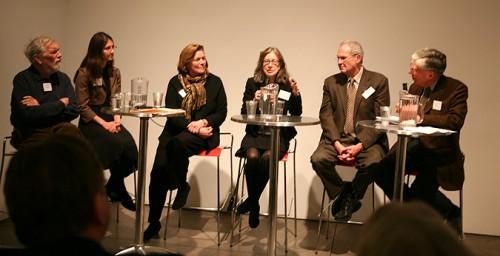 The post premier panel discussion. From left: John Conklin, Michiko Theureur, Jenny Kallick, Sue-Ann Kahn, Lewis Spratlan, and Hugh Hardy.