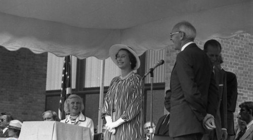 Queen Elizabeth outside at the dedication of the Bicentennial Bell in 1976.