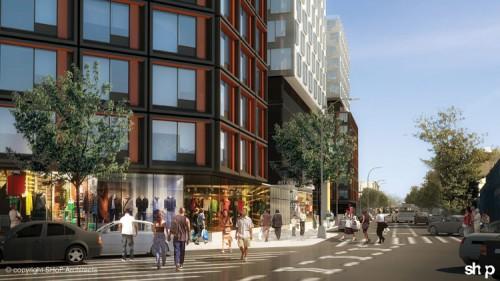 New modular buildings lining Dean Street at Atlantic Yards. (Courtesy SHoP)