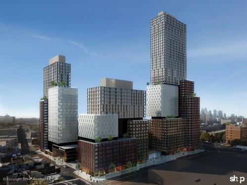 Modular buildings surrounding Barclay's Arena at Atlantic Yards. (Courtesy SHoP)