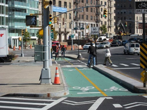 A new bike lane in Grand Army Plaza. (Branden Klayko)