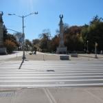 A massive new crosswalk connects to Prospect Park. (Branden Klayko)