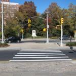 New pedestrian islands at Grand Army Plaza. (Branden Klayko)