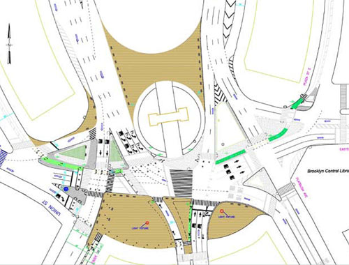 Plan showing improvements to Grand Army Plaza. (Courtesy NYCDOT)