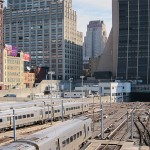 Subway cars parked at Hudson Yards. (Branden Klayko)