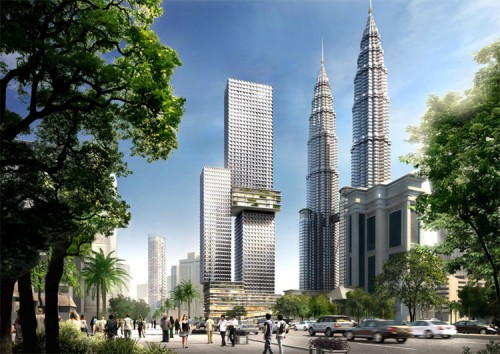 The Angkasa Raya tower proposed for Kuala Lumpur. (Courtesy Buro OS)
