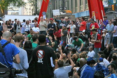 A meeting of the OWS general assembly.
