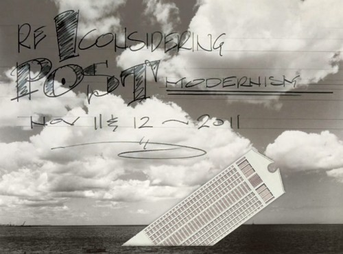 "Montage based on Stanley Tigerman's ""Titanic"" with Philip Johnson's AT&T Building and text drawn by Seth Weine/ICAA"