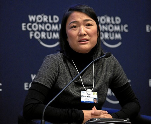 SOHO China's CEO Zhang Xin at Davos this past January. (Courtesy World Economic Forum).
