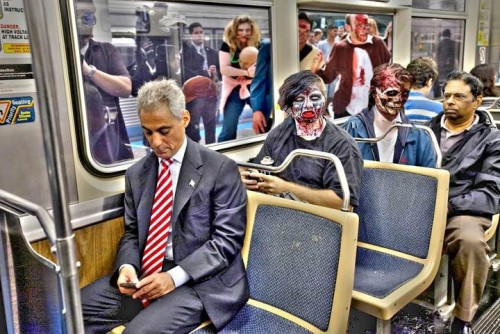 Photo of the Day: Rahm Emanuel takes public transit with zombies! (Courtesy Mayor's Office)