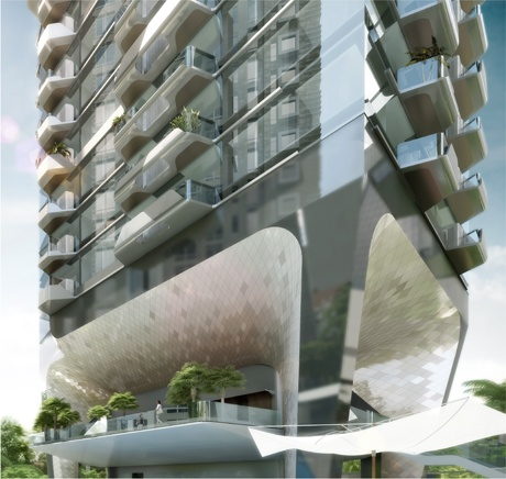 Detail of the Scotts Tower (Courtesy UNStudio)