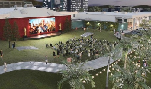 Rendering of the Academy of Motion Picture Arts & Sciences' plan for an outdoor theater for screening classic films. (Courtesy AMPAS)