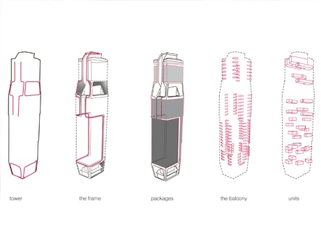Structural diagram of the Scotts Tower (Courtesy UNStudio)