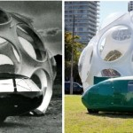 The original dome with Fuller's Dymaxion Car (left) and the restored dome with Norman Foster's Dymaxion reconstruction (Roger Stoller/Ian Garber)