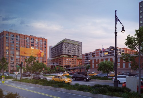 The latest Chelsea Market expansion proposal as seen from the West Side Highway.