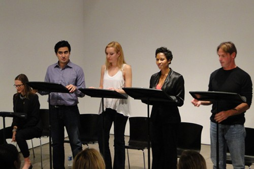 The very capable troupe, from left: Fajer Al-Kaisi as Anthony, Rachel Feldman as Abby, Kim Howard as Jane, and John Pallister as Tad. (Courtesy AIANY/Nicole Friedman)