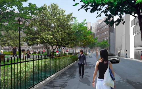 The proposed view along 12th Street looking west.