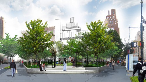 The proposed steps and gate at the four points, where Greenwich, Seventh and West 11th converge.