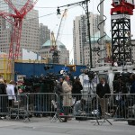 News crews crowd the World Trade Center site the day after Osama bin Laden was killed..