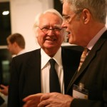 Bill Menking talks with Richard Meier at a World Architecture Foundation party.