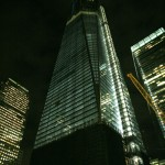One World Trade Center at night.