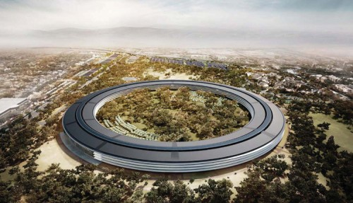 Aerial view of Apple's proposed new headquarters in Cupertino, California. (Courtesy Foster + Partners)