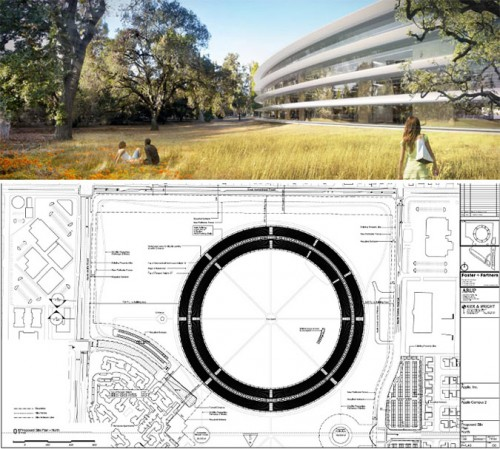 A rendering and a plan view of Apple's proposed campus. (Courtesy Foster + Partners)