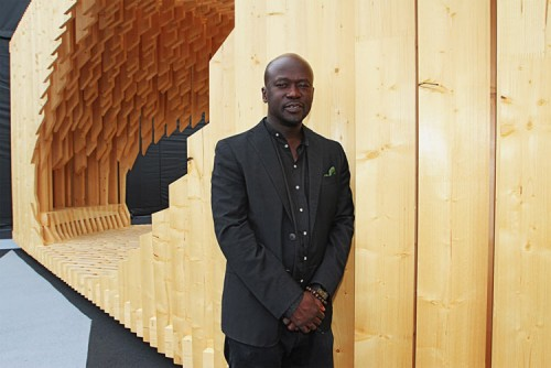 David Adjaye with his pavilion. (Courtesy Design Miami)